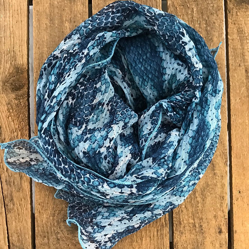 Fraas Python Print Scarf in Denim