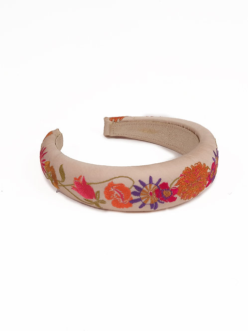 Powder UK Padded Retro Meadow Headband in Cream