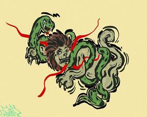 #inktober #inktober2019 #snake #lion #day10 #jungle #digitalsketches #fightclub #Digitalpainting #wacom  #xppen #graphistefreelance #stupidh