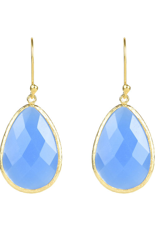 Single Drop Earring Dark Blue Chalcedony Gold