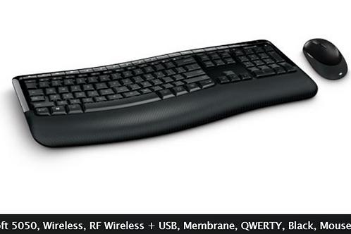 Microsoft 5050, Wireless, RF Wireless + USB, Membrane, QWERTY, Black, Mouse incl
