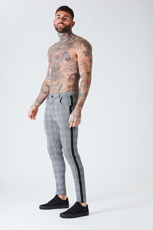 Skinny Check Trousers With Black Stripe - Grey