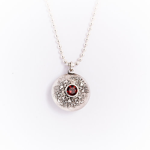 Silver Double Gem Dome Necklace