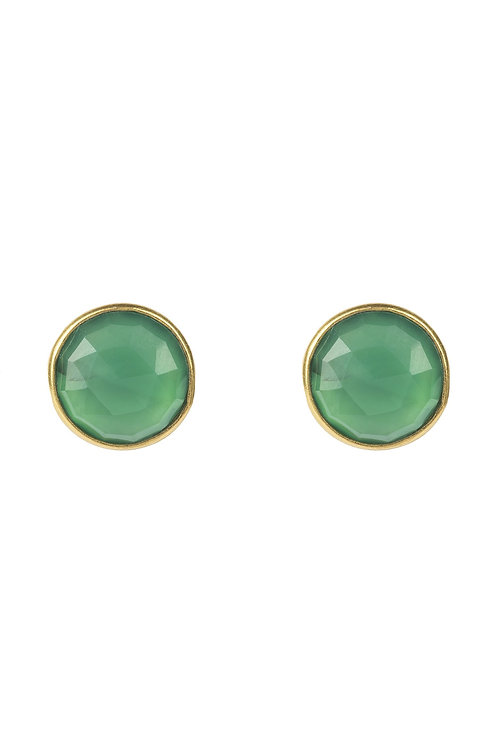 Medium Circle Stud Earrings Gold Green Onyx