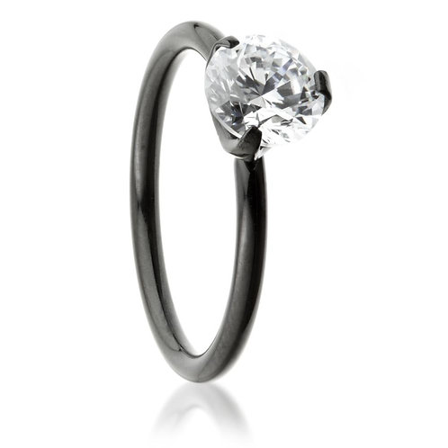 Black Steel Crystal Solitaire Ring
