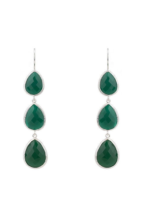 Triple Drop Earring Silver Green Onyx