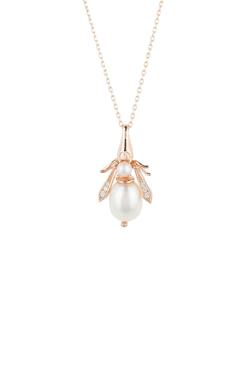Pearl Gemstone Bee Pendant Necklace Rose Gold