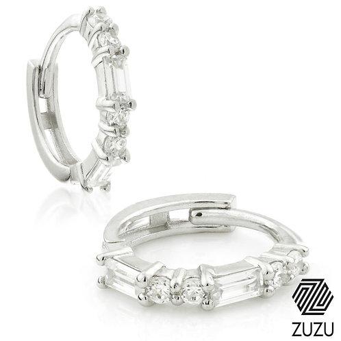 Silver Baguette Crystal Cartilage Huggie Earrings