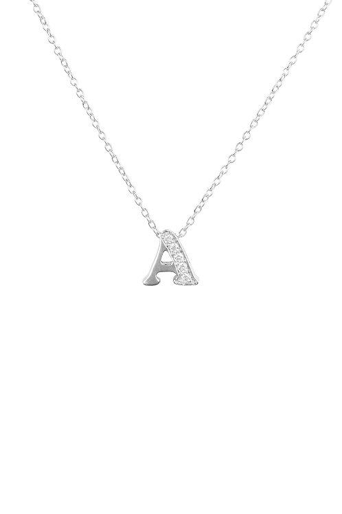 Diamond Initial Letter Pendant Necklace Silver A