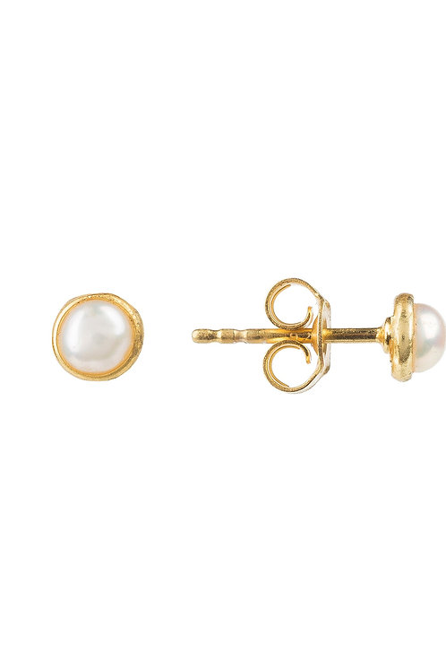 Petite Stud Earring Gold White Pearl