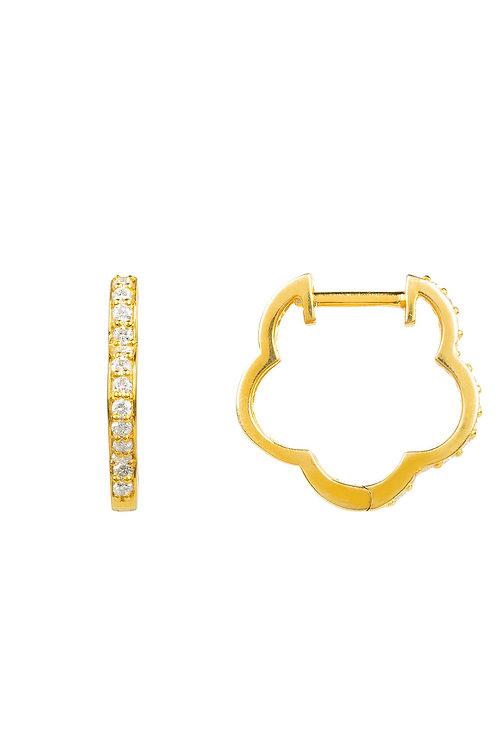 Diamond Flower Clover Huggie Hoop Earring Gold
