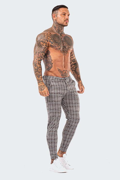 Skinny Check Trousers - Ash Grey