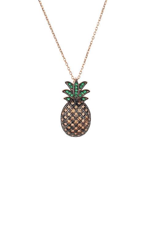 Pineapple Large Colourful Pendant Gemstone Necklace Rosegold