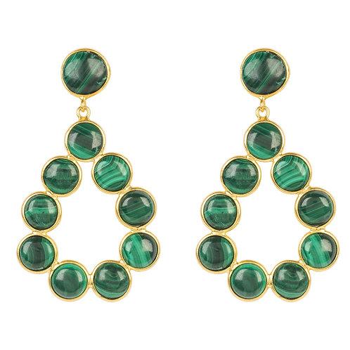 Hatun Gemstone Statement Earrings Gold Malachite