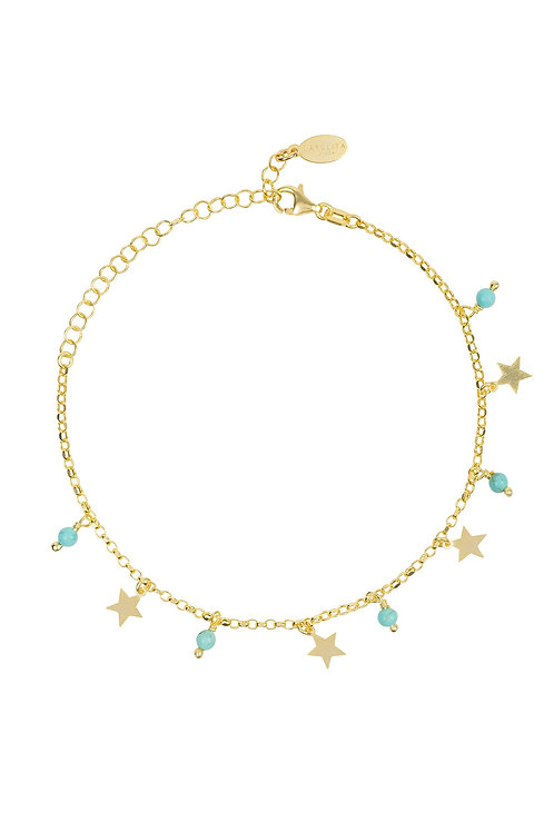Turquoise Star Gemstone Bracelet Gold