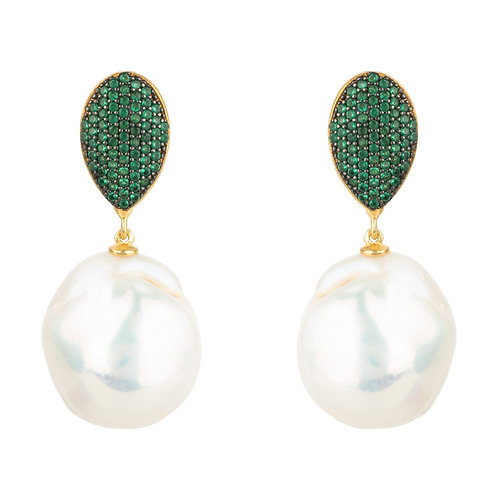 Baroque Pearl Classic Drop Earrings Emerald Green