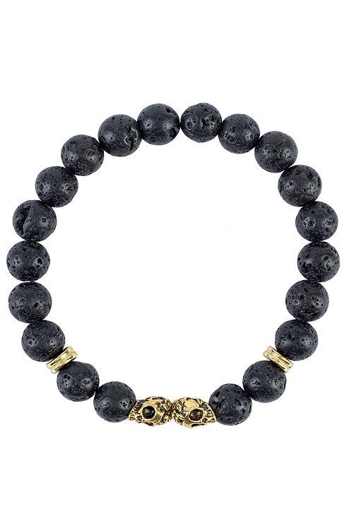 Skull Double  Gold Gemstone Bracelet Black Lava Stone
