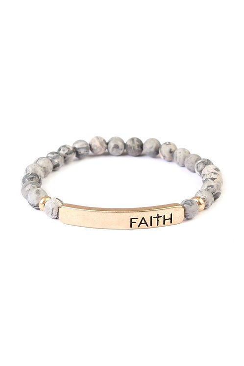 """Faith"" Natural Stone Stretch Bracelet"
