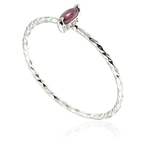 Silver Garnet Marquise Stacking Ring