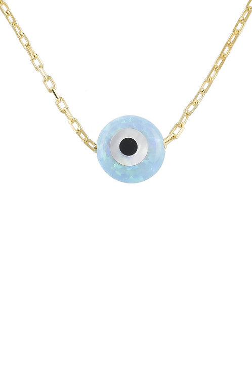 Evil Eye Mini Opalite Pendant Necklace Gold