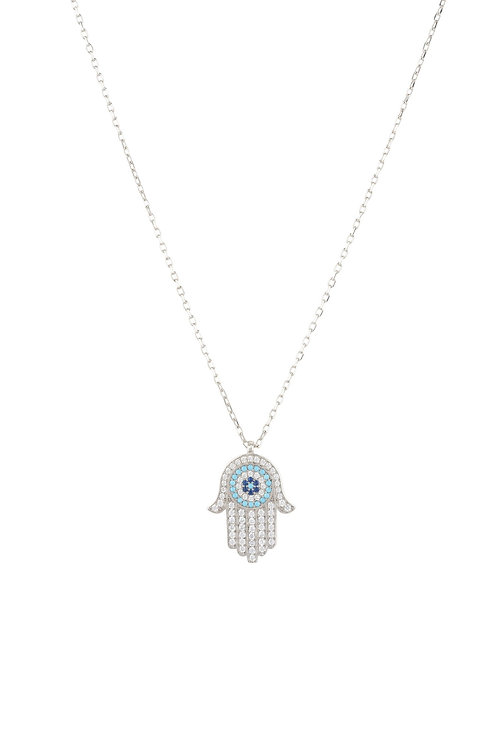 Hamsa Hand With Evil Eye Pendant Necklace Turquoise Silver