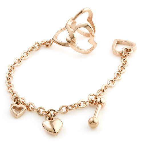 Rose Gold Ball Stud & Heart Chain Ear Cuff