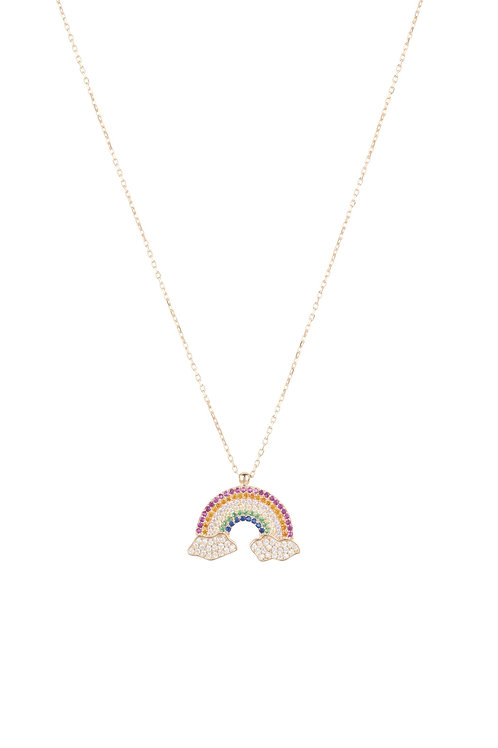 Rainbow Colourful Pendant Necklace Rosegold