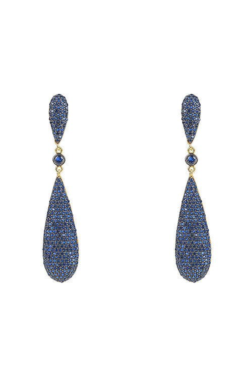 Coco Long Drop Earrings Sapphire Blue CZ