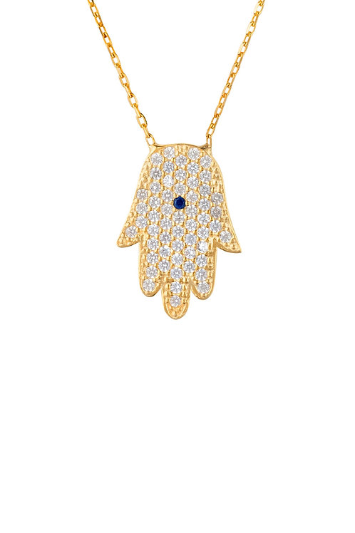 Hamsa Fatima Hand Necklace With Blue Eye Gold
