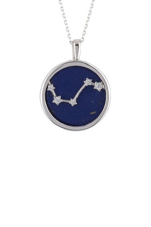 Zodiac Lapis Lazuli Gemstone Star Constellation Pendant Necklace Silver Aries