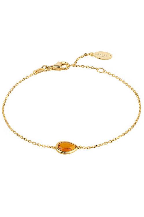 Pisa Mini Teardrop Bracelet Gold Citrine