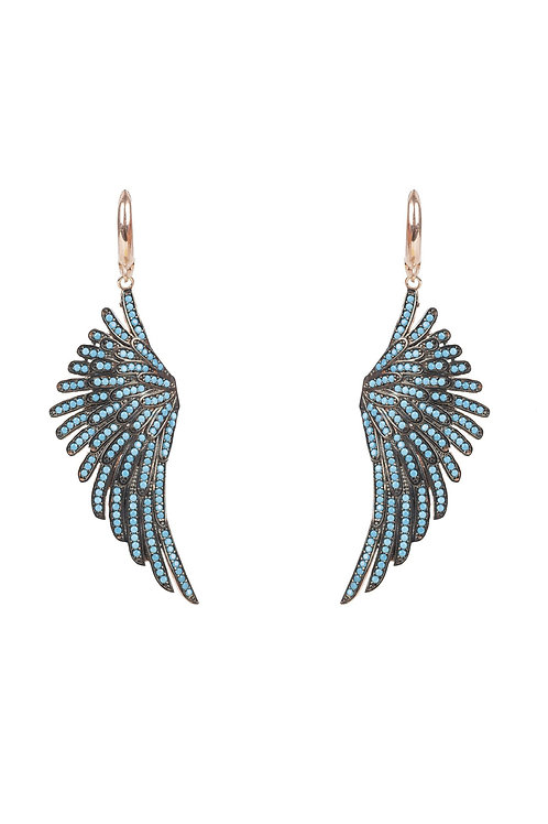 Angel Wing Drop Earring Rosegold Turquoise Blue