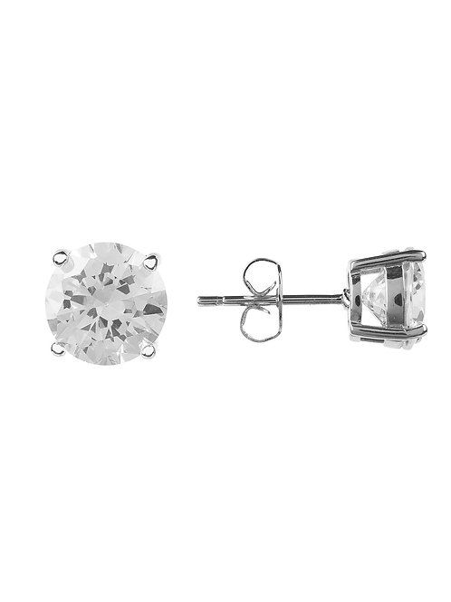 Solitaire Earring CZ Silver White