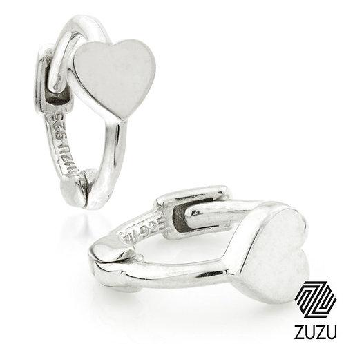 Silver Heart Disc Tiny Cartilage Hoop Earrings