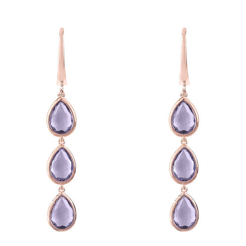 Sorrento Triple Drop Earring Rosegold Amethyst