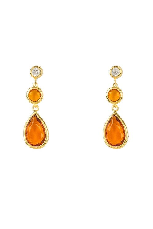 Tuscany Gemstone Drop Earring Gold Citrine
