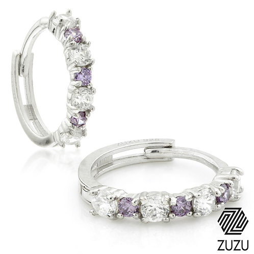 Silver CZ & Amethyst Colour Cartilage Huggie Earring