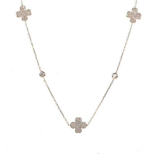 Lucky Four Leaf Clover Necklace Long Rose Gold
