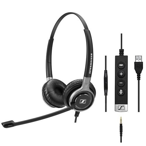 Sennheiser SC 665 USB, Headset, Head-band, Office/Call center, Black,Grey, Binau