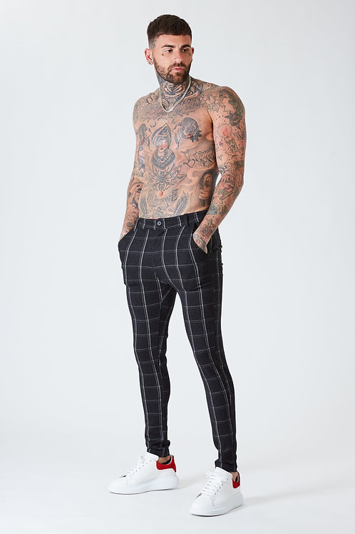 Luxe Grid Check Trousers - Black