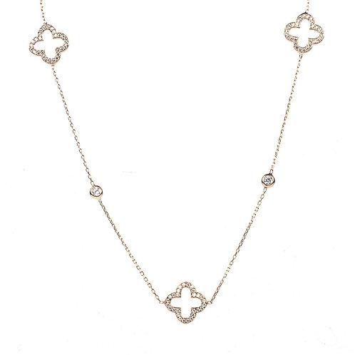 Open Clover Long Necklace Rosegold