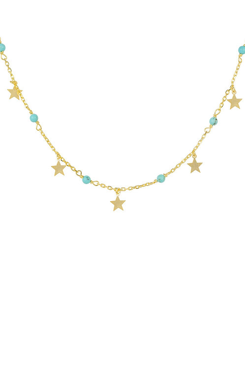 Turquoise Star Choker Necklace Gold