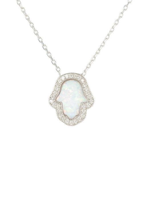 Hamsa Opalite Necklace White Silver