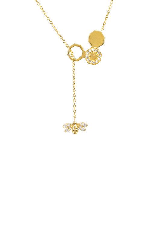Diamond Honey Bee Comb Pendant Necklace Gold
