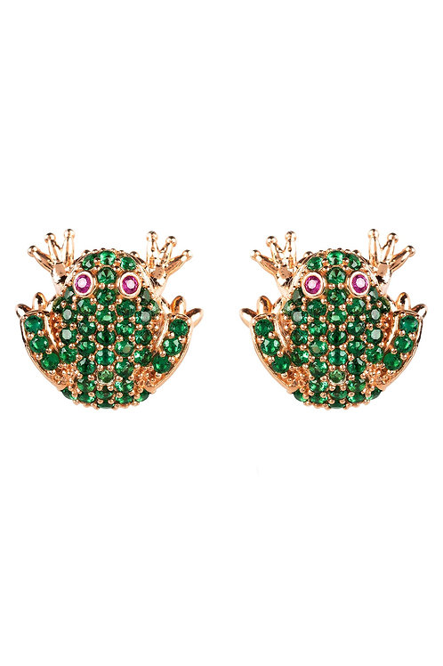Frog Prince Stud Earrings Rosegold