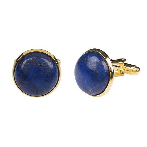 Round Cabochon Cufflink Gold Lapis Lazuli
