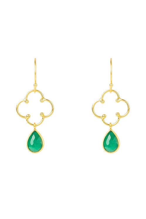 Open Clover Gemstone Drop Earring Gold Green Onyx
