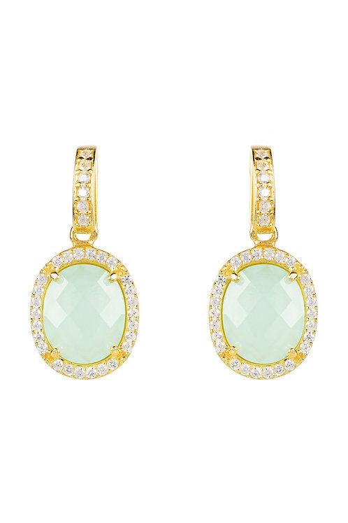 Beatrice Oval Gemstone Drop Earrings Gold Aqua Chalcedony