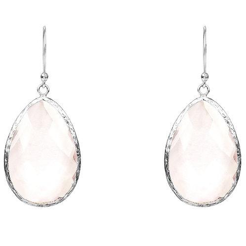 Single Drop Earring Rose Quartz Hydro Silver