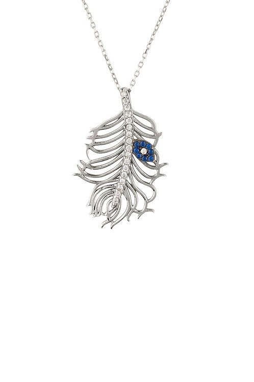 Peacock Feather Evil Eye Necklace Silver